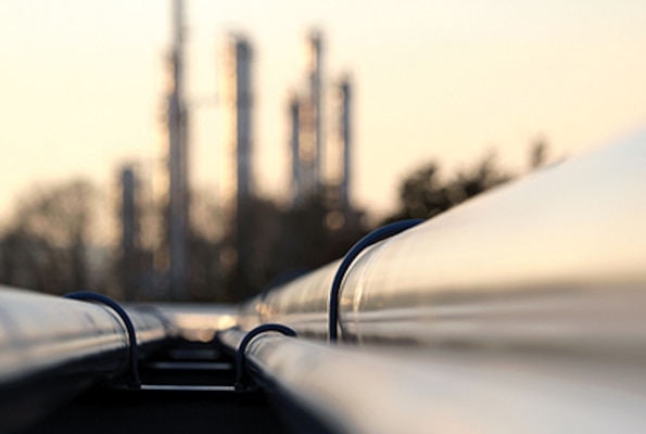 pipelines from an oil refinery