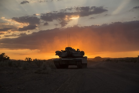 A U.S. Marine Corps M1A1 Abrams tank with 1st Tank Battalion, Marine Air Ground Task Force-8 stands by to be refueled during Integrated Training Exercise (ITX) 5-17 at Marine Corps Air Ground Combat Center, Twentynine Palms, Calif., Aug 04, 2017. The purpose of ITX is to create a challenging, realistic training environment that produces combat-ready forces capable of operating as an integrated Marine Air Ground Task Force. (U.S. Marine Corps Photograph by Cpl. Justin M. Smith)