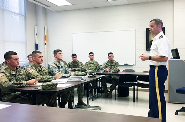 Mobile District Commander Col. James DeLapp speaks to ROTC cadets during a recent visit to the Auburn University campus. DeLapp visited three Alabama universities last week to reignite relationships with both faculty members and students.