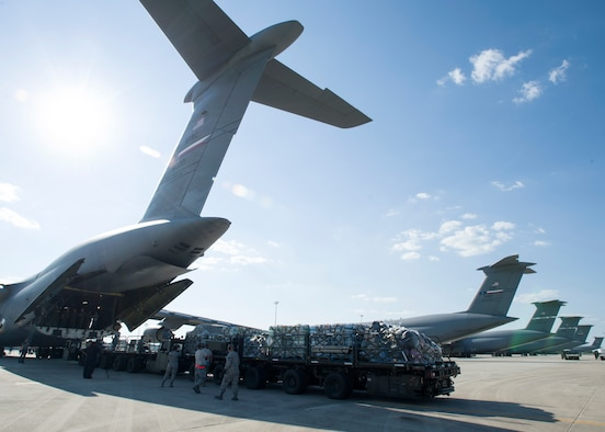 59th Medical Wing's medical gear gets loaded into a Lockheed C-5 Galaxy at Joint Base San Antonio-Lackland, August 30. The wing is sending more than 70-members of the Air Force's flagship medical wing to provide medical attention to those affected by the flooding.