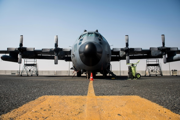 A large aircraft receives maintenance.