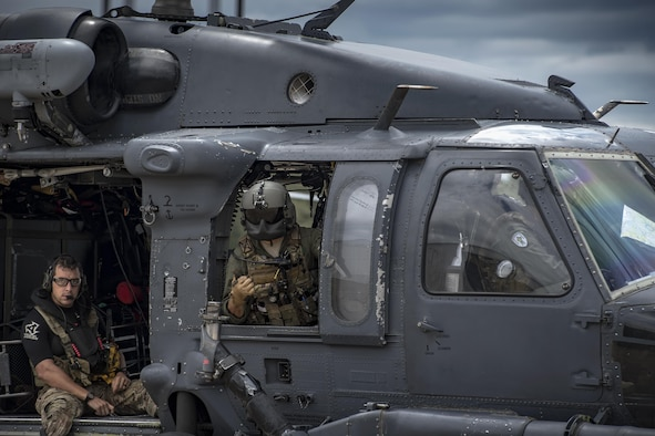 A rescue crew made up of pararescuemen, special missions aviators and pilots returns from a sortie in support of Hurricane Harvey relief efforts, Aug. 29, 2017, at Easterwood Airport, College Station, Texas.