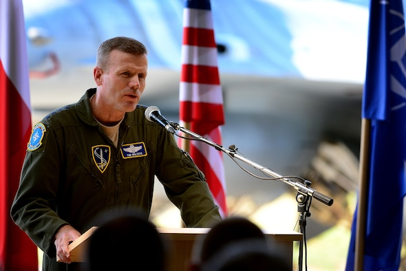 U.S. Air Force Gen. Tod D. Wolters, NATO Allied Air Command and U.S. Air Forces in Europe commander, expresses his thanks to the men and women of the Polish air force during the official Baltic Air Policing hand-over, take-over ceremony at Šiauliai Air Base, Lithuania, Aug. 30, 2017. The U.S. Air Force assumed control of Baltic Air Policing operations from the Polish air force to protect the sovereign skies above the Baltic region. (U.S. Air Force photo/ Tech. Sgt. Matthew Plew)
