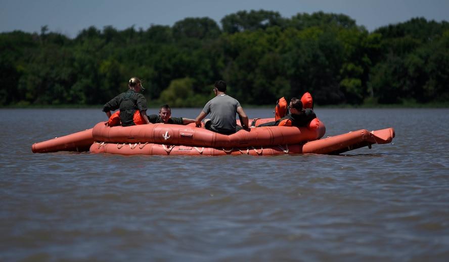 Airmen on a life raft
