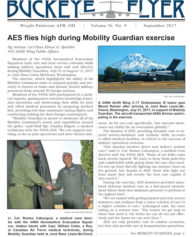 The September 2017 issue of the Buckeye Flyer is now available. The official publication of the 445th Airlift Wing includes eight pages of stories, photos and features pertaining to the 445th Airlift Wing, Air Force Reserve Command and the U.S. Air Force.