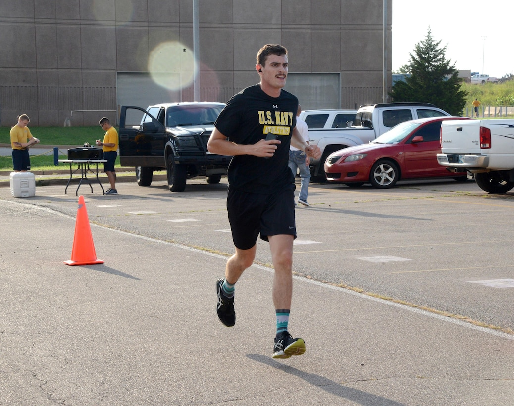 AE3 Keagan Adams, with VQ-4, was the first place finisher in the annual Howie Shapiro 5K Aug. 18 at Herc Park.