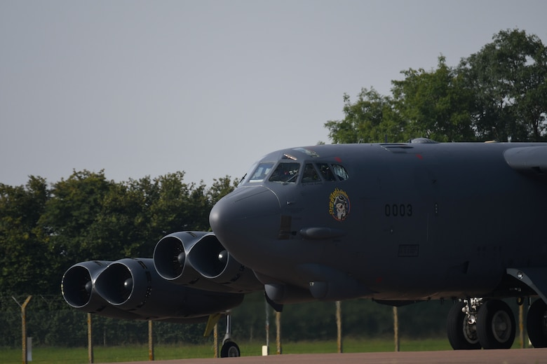 A B-52 Stratofortress, assigned to the 307th Bomb Wing, heads for the runway as it prepares for take off on the first day of Exercise Ample Strike at RAF Fairford, U.K., Aug. 28, 2017.