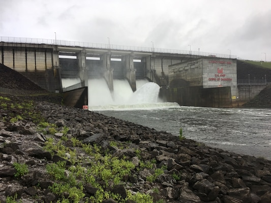 J. Percy Priest Dam in Nashville, Tenn., is spilling Aug. 31, 2017 to recover additional storage capacity as the remnants of Hurricane Harvey approaches the region. (USACE Photo by Amber Jones)