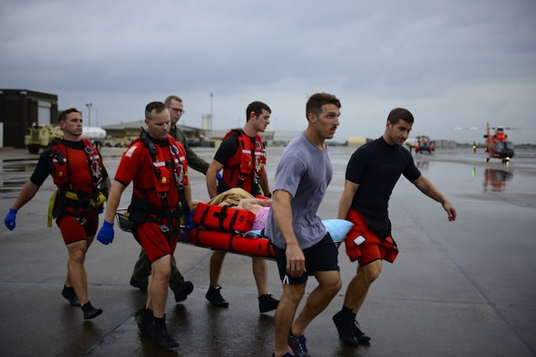 The Coast Guard responds to search and rescue requests in response to Hurricane Harvey in the greater Houston metro area.
