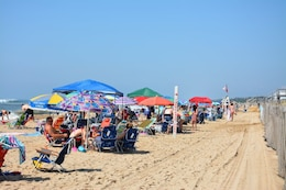 Beachgoers in Montauk, New York, on Long Island's east end, set up camp along the shore, August 16, 2017. A New York District flood-control project created a wider beach for summer recreation as a secondary benefit.