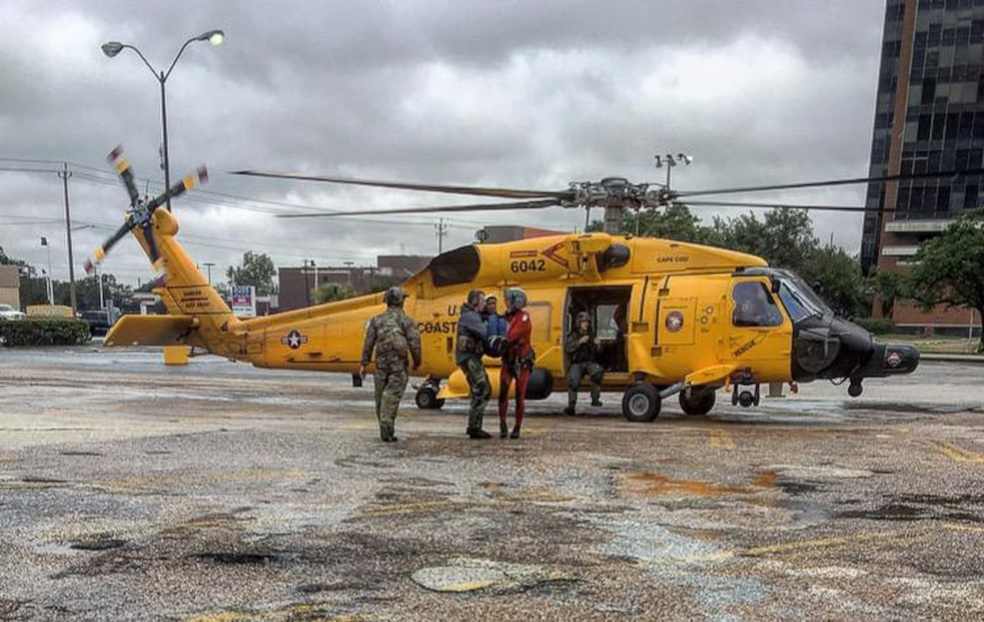 123rd STS command and controls helicopter landing zone during Hurricane Harvey.