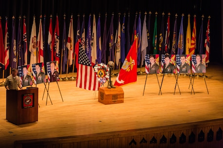 Maj. Gen. Carl E. Mundy III, U.S. Marine Corps Forces, Special Operations Command commander, gives a condolence speech during a celebration of life ceremony aboard Marine Corps Base Camp Lejeune, N.C., Aug. 31, 2017. The ceremony honored the seven MARSOC service members lost July 10 in a KC-130T Hercules transport aircraft crash. The seven included Staff Sgts. Robert Cox and William Kundrat, Navy special amphibious reconnaissance corpsman, Petty Officer 1st Class Ryan Lohrey , and Sgts. Chad Jenson, Dietrich Schmieman, Joseph Murray and Talon Leach. (U.S. Marine Corps photo by Sgt. Salvador R. Moreno, released)