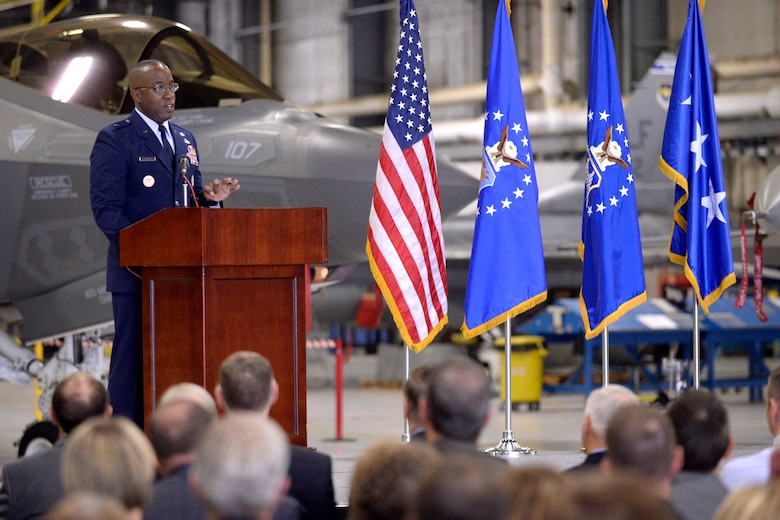 Brig. Gen. Stacey T. Hawkins, incoming Ogden Air Logistics Complex commander, addresses guests during the change of command ceremony at Hill Air Force Base, Utah, Aug. 31. Hawkins is a 26-year Air Force veteran and came from Scott AFB, Illinois, where he served as director of logistics, engineering and force protection for Air Mobility Command since May 2015. (U.S. Air Force photo by Todd Cromar)
