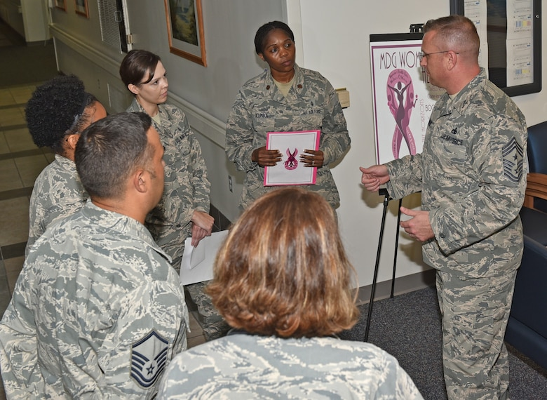 U.S. Air Force Chief Master Sgt. David W. Wade, 9th Air Force command chief at Shaw Air Force Base, S.C., briefs the Tyndall Air Force Base, Fla., 325th Medical Group members Aug. 29, 2017. Wade spent time at different units talking with Airmen and highlighting their place in the profession of arms and how their efforts affect the Tyndall mission. (U.S. Air Force photo by Senior Airman Sergio A. Gamboa/Released)