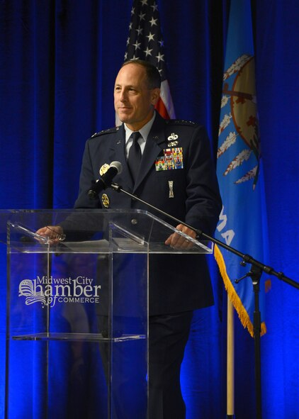 Air Force Sustainment Center Commander Lt. Gen. Lee K. Levy II gave opening remarks at the 2017 Tinker and the Primes: Innovating Together event Aug. 22 at the Reed Conference Center in Midwest City.