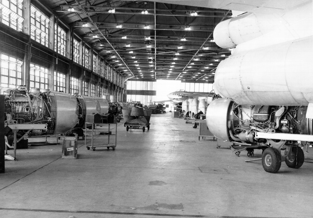 General Electric J47 engines are scattered throughout this photo of B-47 Stratojets being processed at the Oklahoma City Air Materiel Area in May 1956. The B-47 used six J47 engines.