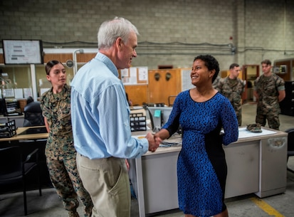 Richard Spencer, the Secretary of the Navy, meets with Iris Perez, the logistics and communication site man with 1st Maintenance Battalion, Combat Logistics Regiment 15, 1st Marine Logistics Group, on Camp Pendleton, Calif., August 30, 2017. Spencer was appointed the 76th Secretary of the Navy on August 3, 2017, following his confirmation by the U.S. Senate. (U.S. Marine Corps photo by Lance Cpl. Adam Dublinske)