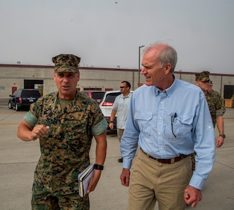 U.S. Marine Brig. Gen. Stephen Sklenka, the commanding general for the 1st Marine Logistics Group, talks about the various capabilities of the logistics group with Richard Spencer, Secretary of the Navy, on Camp Pendleton, Calif., August 30, 2017. Spencer was appointed the 76th Secretary of the Navy on August 3, 2017, following his confirmation by the U.S. Senate. (U.S. Marine Corps photo by Lance Cpl. Adam Dublinske)