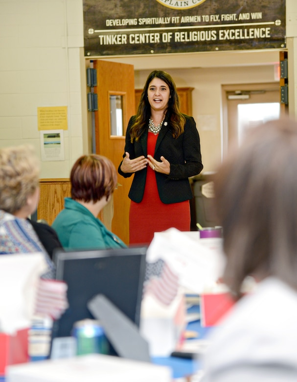 Oklahoma State Senator Stephanie Bice was the featured guest speaker at the Aug. 24 Women's Equality Day luncheon in Fellowship Hall of the Tinker Chapel.