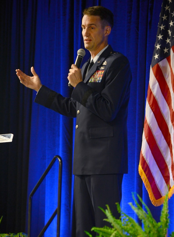 Oklahoma City Air Logistics Complex Commander Brig. Gen. Tom Miller spoke to attendees at the 12th Annual Tinker and the Primes about the importance of industry, academia and government working together to find opportunities for improvement in parts supportability, a trained next general work force and cost effectiveness.