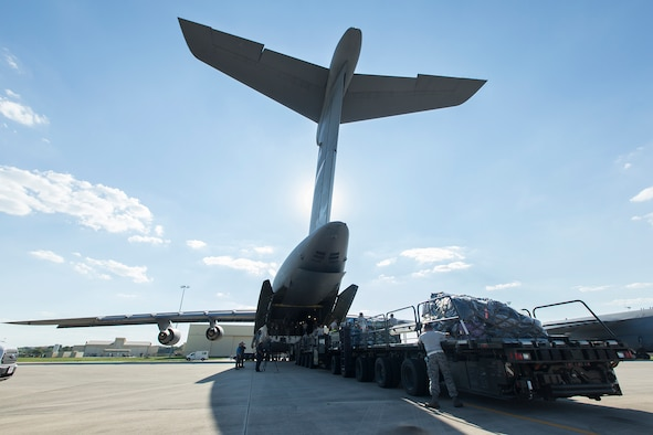 C-5 with personnel for disaster relief efforts