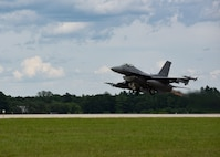 A U.S. Air Force F-16 Fighting Falcon assigned to the 175th Fighter Squadron takes off during a training sortie at Volk Field, WI, Aug. 11, 2017