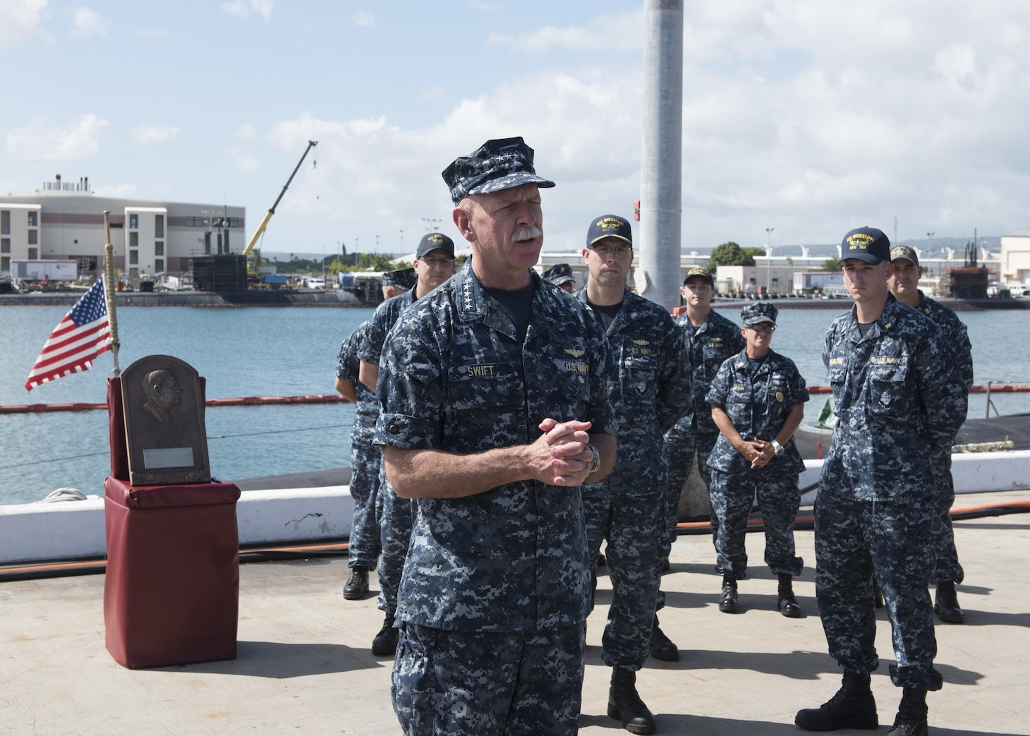 170830-N-KV911-104 PEARL HARBOR, Hawaii (Aug. 30, 2017) Adm. Scott Swift, commander, U.S. Pacific Fleet presents the Arleigh Burke Fleet Trophy to the crew of the Virginia-class fast-attack submarine USS Mississippi (SSN 782). The trophy is awarded to a ship that best represents the fleet, achieving the best overall improvement in battle efficiency, and is presented annually to the most-improved ships or aviation squadrons in both the Atlantic and Pacific Fleets. (U.S. Navy photo by Mass Communication Specialist 2nd Class Shaun Griffin)