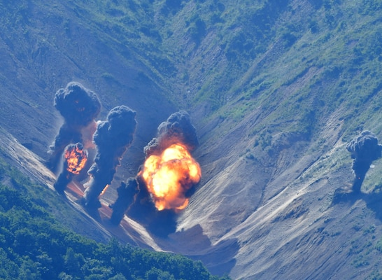 Weapons dropped from F-35Bs and B-1Bs strike the Pilsung Range in South Korea during a live-fire training mission