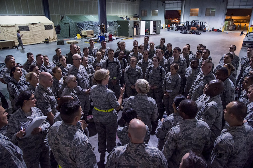 The Warrior Medics from the 59th Medical Wing, Joint Base San Antonio-Lackland, Texas, muster together at the George Bush Intercontinental Airport in Houston, Texas, concerning the response and relief efforts following the devastation caused by Hurricane Harvey, August 30, 2017. The 59th MDW is part of a larger Department of Defense presence in an effort to aid eastern Texas following a record amount of rainfall and flooding. (U.S. Air Force photo/Senior Airman Keifer Bowes)