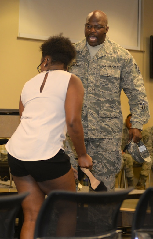 Tech. Sgt. Nelson, portraying a front-line supervisor, argues with his wife Aug. 30, 2017 on Ellsworth Air Force Base