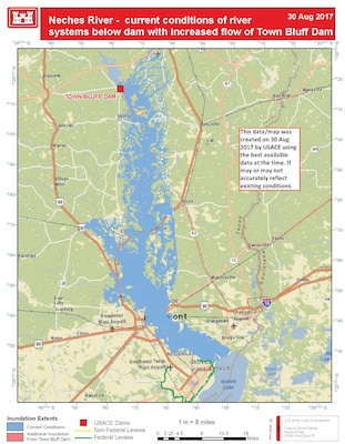Neches River - current conditions of river systems downstream from Town Bluff Dam with increased flow from Town Bluff Dam. This map was created on August 30, 2017 with best available data at the time. It may or may not accurately reflect existing conditions.
