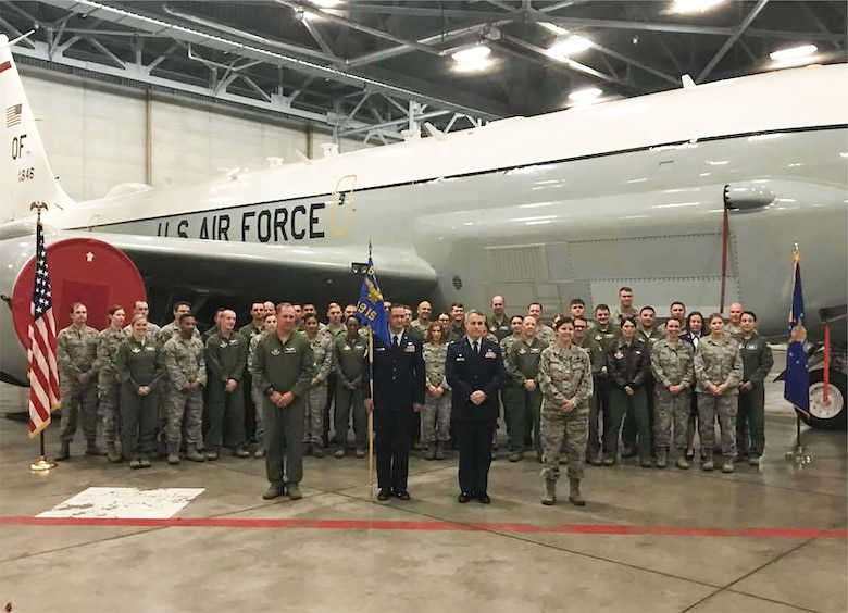 During the Nov. 5, 2017 unit training assembly, Lt. Col. Jed S. Snarr took the helm of the 49th Intelligence Squadron as his proud family and unit members look on.