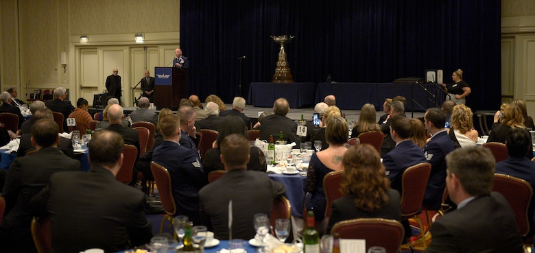 "Air Force Vice Chief of Staff Gen. Stephen W. Wilson speaks during an award dinner in Arlington, Va., Nov. 29, 2017. During the dinner Wilson presented members of the AC-130U Gunship aircrew known as ""Spooky 43"" the Mackay Trophy. First awarded in 1912, the Mackay Trophy honors the most meritorious U.S. Air Force flight of the previous year. (U.S. Air Force photo by Staff Sgt. Rusty Frank)"