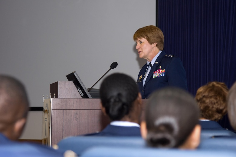 U.S. Air Force Major General Dorothy Hogg, the Deputy Surgeon General and Chief of the Air Force Nurse Corps, Office of the Surgeon General, Headquarters U.S. Air Force, Washington, D.C., speaks at the graduation ceremony of the Nurse Transitioning Program held at the Tampa General Hospital Nov. 29, 2017. During her speech, Hogg challenged the Airmen to provide evidence-based care to their patients, as well as to continue learning industry best practices