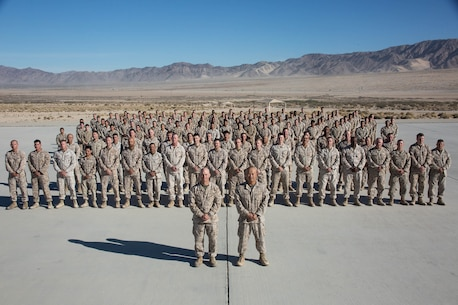 Marines with Headquarters Company, Marine Air Ground Task Force 5, pose for a group photo during Integrated Training Exercise 1-18, November, 2017.