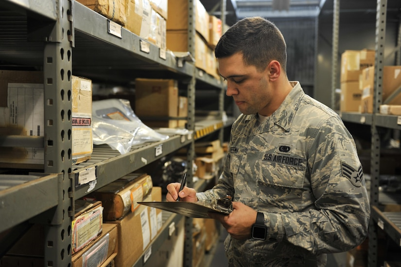 Senior Airman Ryan Deetman, 628th Logistics Readiness Squadron central storage journeyman, completes a validation checklist in LRS building T80 Nov. 30, 2017, at Joint Base Charleston, S.C.