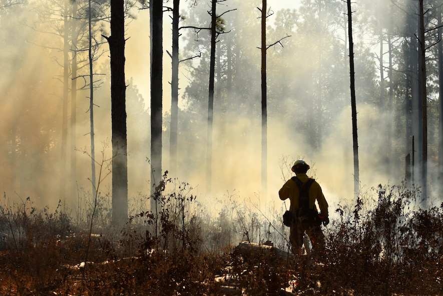 A Shaw Wildland Support Module team member speaks into a radio while monitoring a prescribed fire at Poinsett Electronic Combat Range near Wedgefield, South Carolina, Nov. 29, 2017.