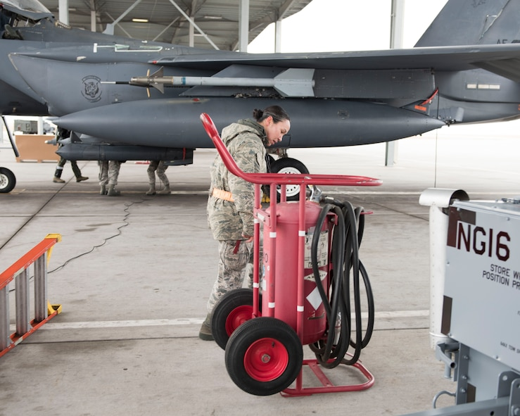 Image of Airman 1st Class Carol Russell, a 391st Aircraft Maintenance Unit F-15E avionics technician, inspects a 150 pound Halon Fire Bottle Nov. 29, 2017, at Mountain Home Air Force Base, Idaho. While the jet prepares to take off, Russell's job is to stand next to the fire bottle ready to extinguish any fires that may occur. (U.S. Air Force photo by Airman 1st Class Alaysia Berry)