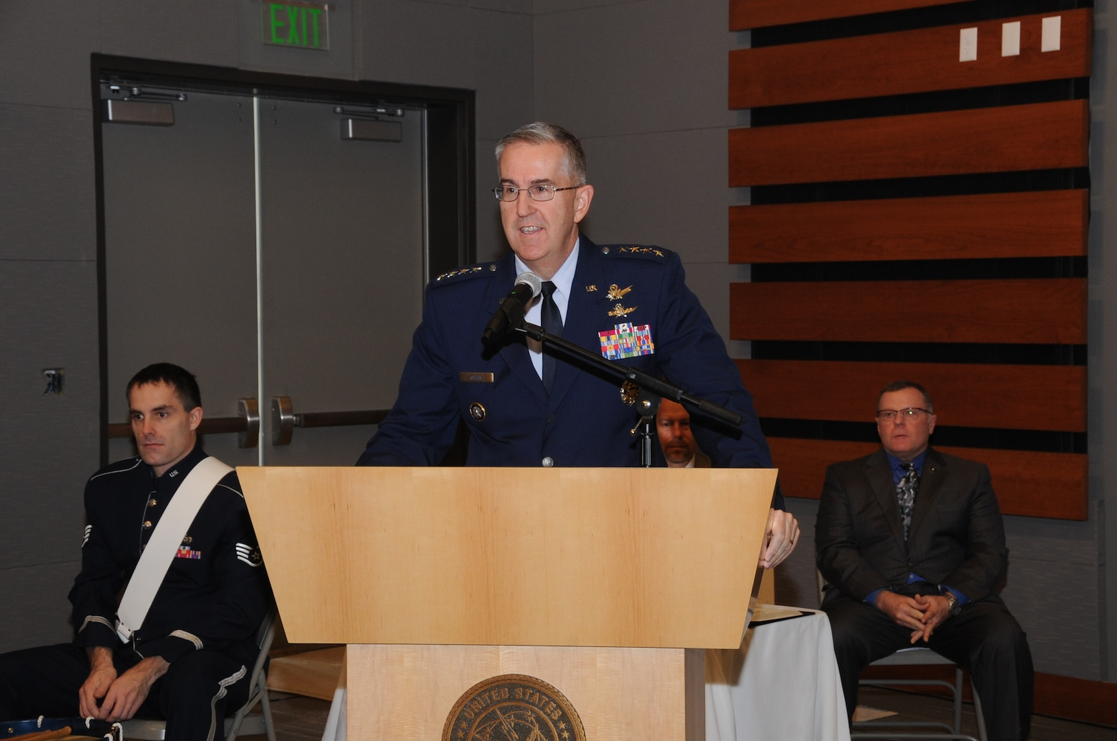 U.S. Air Force Gen. John Hyten, commander of U.S. Strategic Command (USSTRATCOM) provides remarks during a retirement ceremony in honor of Kenneth Callicutt, USSTRATCOM director of capability and resource integration, at Offutt Air Force Base, Neb., Dec. 1, 2017. Callicutt retired after more than 39 years of service as an Air Force officer and member of the Senior Executive Service During his 12 years with USSTRATCOM, Callicutt led the team responsible for conducting force management and analysis to include integrating, and advocating future concepts, weapons system development, support for emerging technologies, and command and control architecture. One of nine Department of Defense unified combatant commands, USSTRATCOM has global responsibilities assigned through the Unified Command Plan that include strategic deterrence, nuclear operations, space operations, joint electromagnetic spectrum operations, global strike, missile defense, and analysis and targeting.