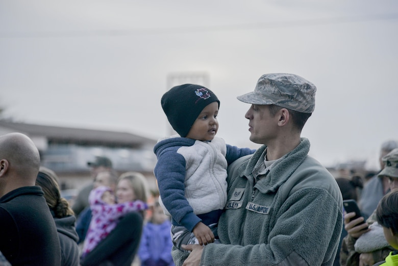 Members of Team Kirtland joined at the base chapel yesterday to light the Christmas tree, eat some cookies, and visit with Santa and Mrs. Claus. (U.S. Air Force photo by A1C Alexandria Crawford)
