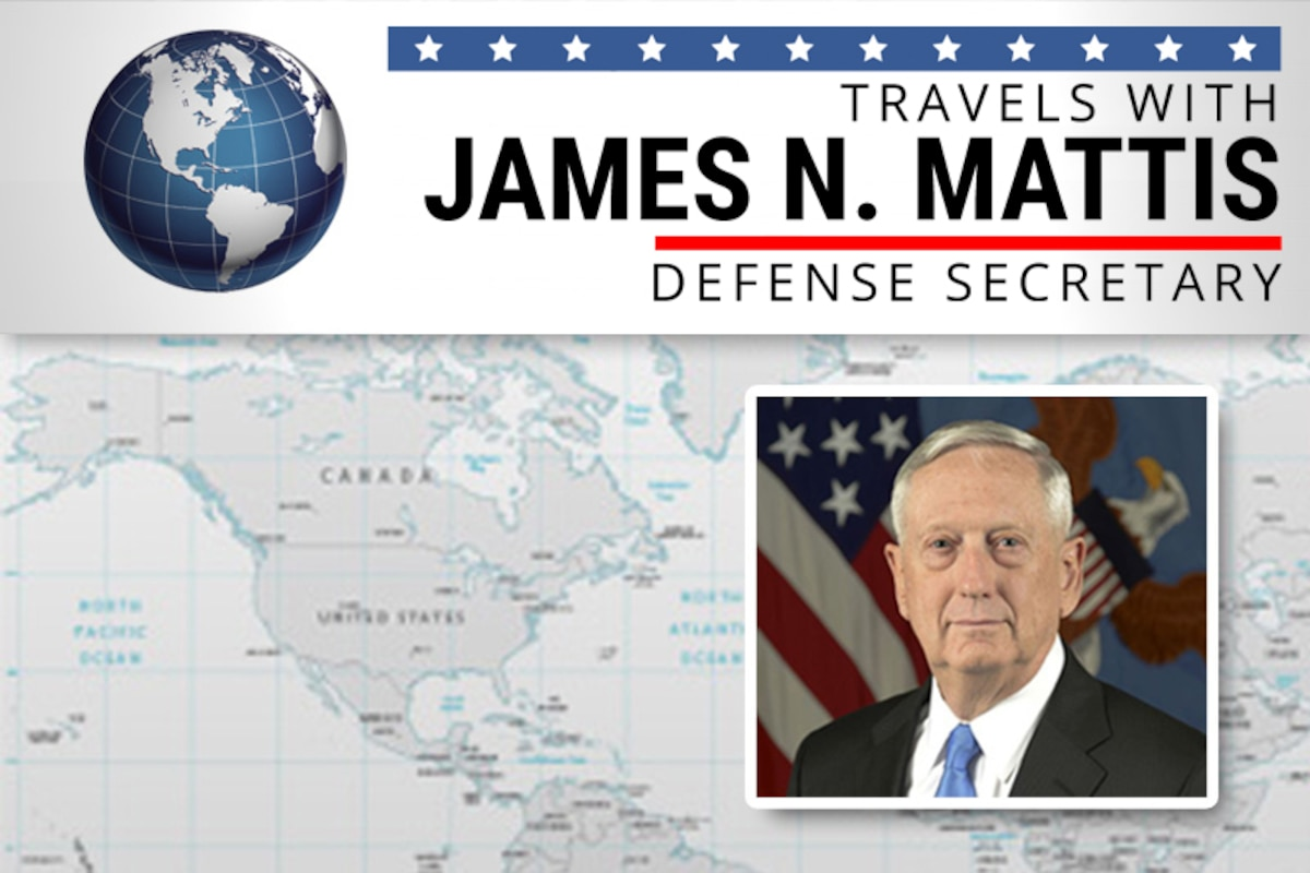 A graphic with a gray world map as the background features a headshot of Defense Secretary James N. Mattis.