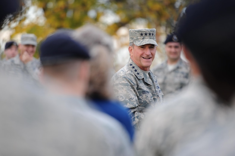 Chief of Staff of the Air Force, Gen. David L. Goldfein, speaks to members of the 9th Security Forces Squadron during a visit to Beale Air Force Base, California, Nov. 30, 2017. Goldfein's visit included a display of the persistent strides made by the U-2 Dragon Lady and RQ-4 Global Hawk, the innovation of building Team Beale's rising leaders, the elevated training of the 9th Security Forces Squadron, the Distributed Ground System flow of critical intelligence data to combatant commanders and an all call he hosted to deliver his priorities and goals for Airmen.(U.S. Air Force photo/ Senior Airman Ramon A. Adelan)