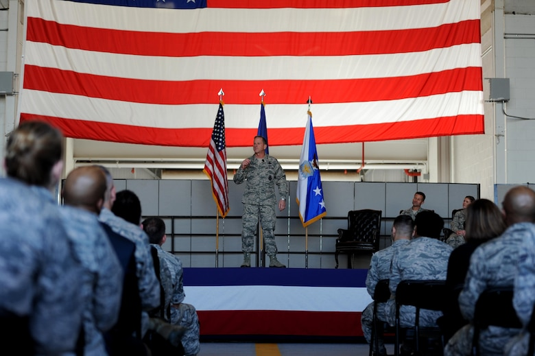 Chief of Staff of the Air Force, Gen. David L. Goldfein, speaks to Airmen about top three priorities during an all call Dec. 1, 2017, at Beale Air Force Base, California. Goldfein's three focus areas are to revitalize squadrons, strengthen joint leaders and teams and advance multi-domain, multi-functional command and control. (U.S. Air Force photo/ Senior Airman Ramon A. Adelan)