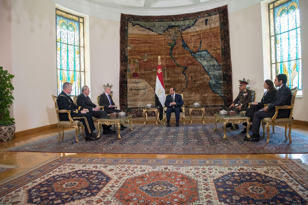 Defense Secretary James N. Mattis meets with the Egyptian president.