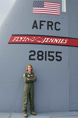 Col. Jennie R. Johnson, 403rd Wing Commander poses for a photo on the wing of a C-130J Super Hercules Aircraft Oct. 15, 2017 at Keesler Air Force Base, Mississippi (U.S. Air Force photo by Tech. Sgt. Ryan Labadens)