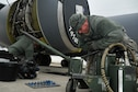 Master Sgt. Carter Marcy, 141st Maintenance Squadron aerospace propulsion specialist, performs maintenance on a KC-135 Stratotanker Nov., 13, 2017, at Aviano Air Base, Italy. Airmen from the 141st Air Refueling Wing trained with F-16 Fighting Falcons from the 31st Fighter Wing on aerial refueling operations. (Washington Air National Guard photo by Tech. Sgt. Tim Chacon)