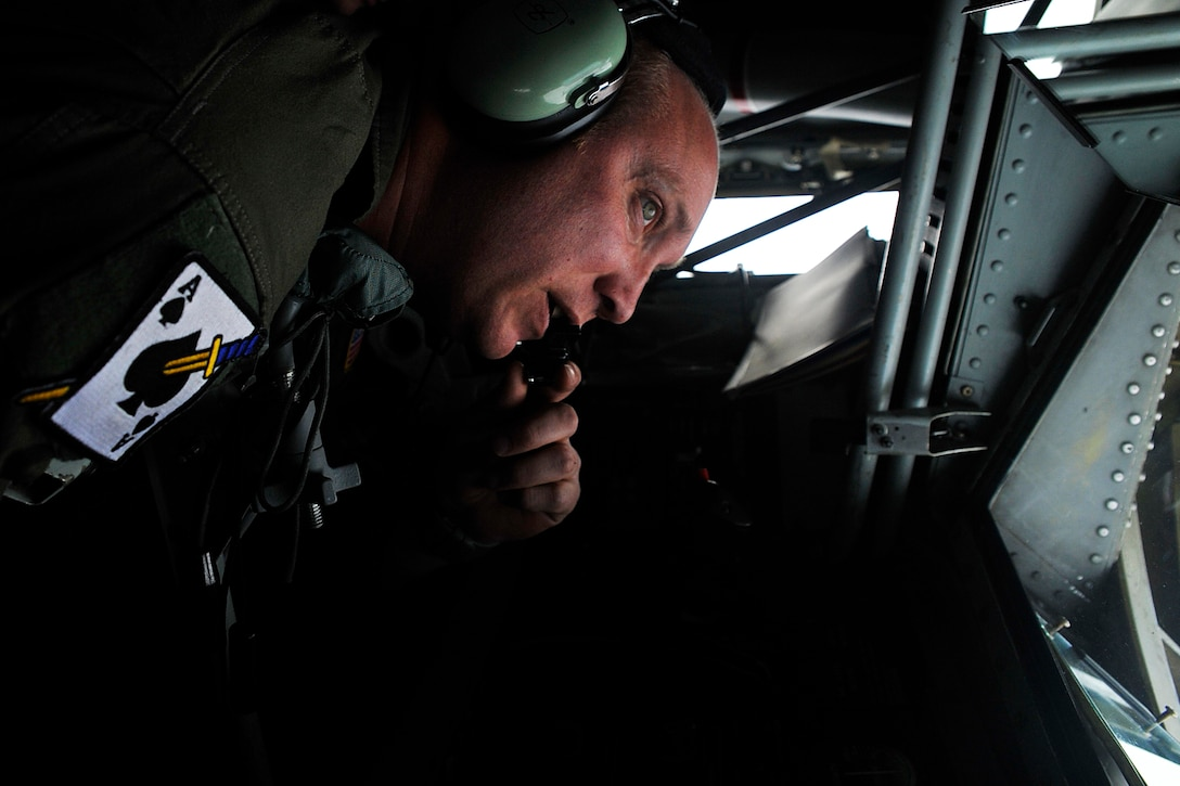 Tech. Sgt. Louis Winters, boom operator for the 116th Air Refueling Squadron, 141st Air Refueling Wing, performs air refueling operations over the Adriatic Sea with an F-16 Fighting Falcon from the 510th Fighter Squadron stationed at Aviano Air Base, Italy, Nov., 15, 2017. The Washington Air National Guard KC-135 unit routinely works with active duty flying units in both training and real world aerial refueling operations. (Washington Air National Guard photo by Tech. Sgt. Tim Chacon)