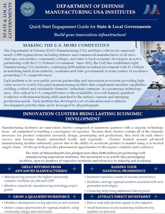 Manufacturing USA Institutes Engagement Guide - State & Local Governments