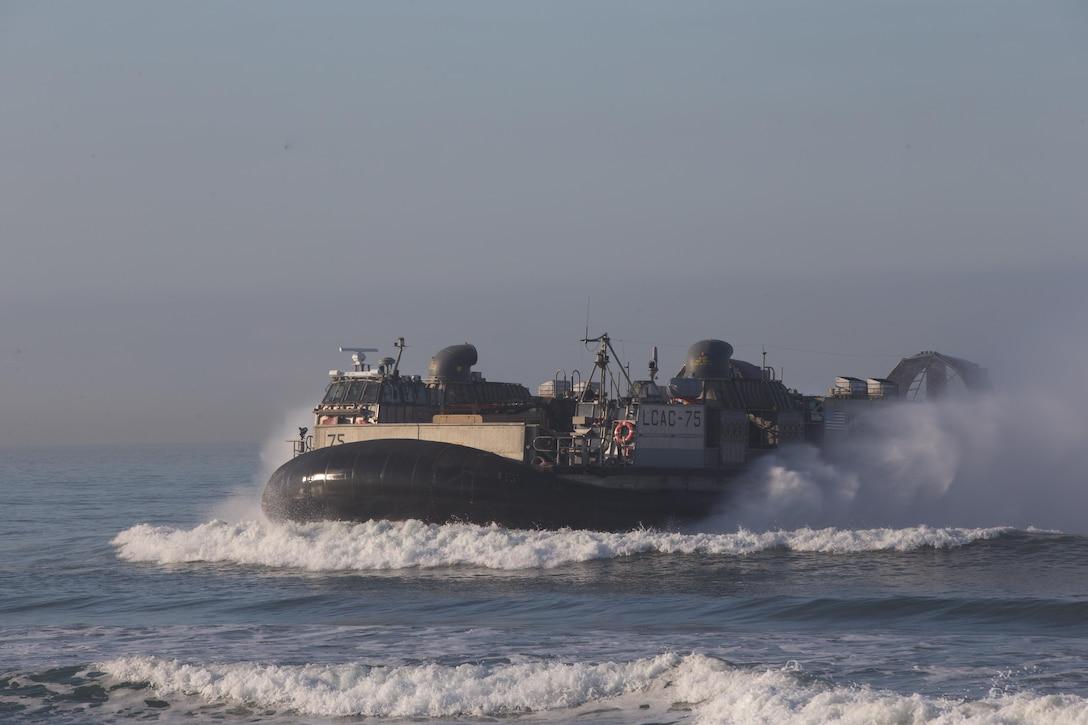 Landing Craft Air Cushion (LCAC) 75 sails towards shore during Dawn Blitz 2017 aboard Camp Pendleton, Calif. Oct 27, 2017. Dawn Blitz 2017 provides a robust training environment where forces plan and execute amphibious training.