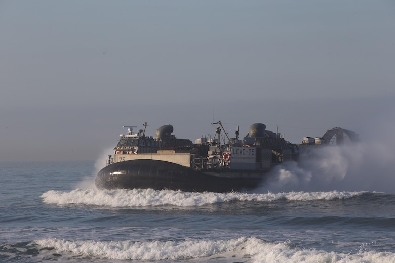 Landing Craft Air Cushion (LCAC) 75 sails towards shore during Dawn Blitz 2017 aboard Camp Pendleton, Calif. Oct 27, 2017. Dawn Blitz 2017 provides a robust training environment where forces plan and execute amphibious training.